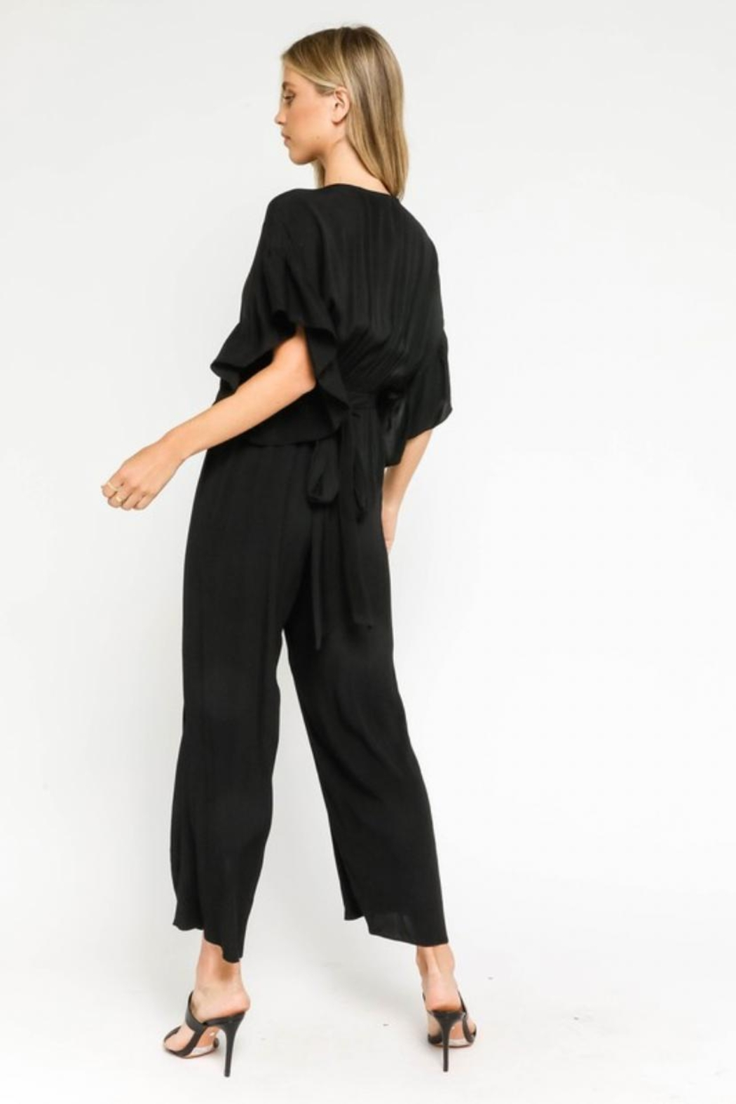 Olivaceous Ruffle Sleeve Jumpsuit - Side Cropped Image