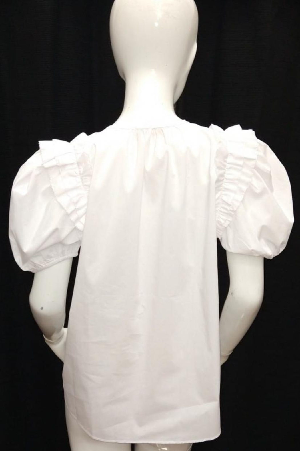 Olivaceous Ruffle Trim Top - Front Full Image