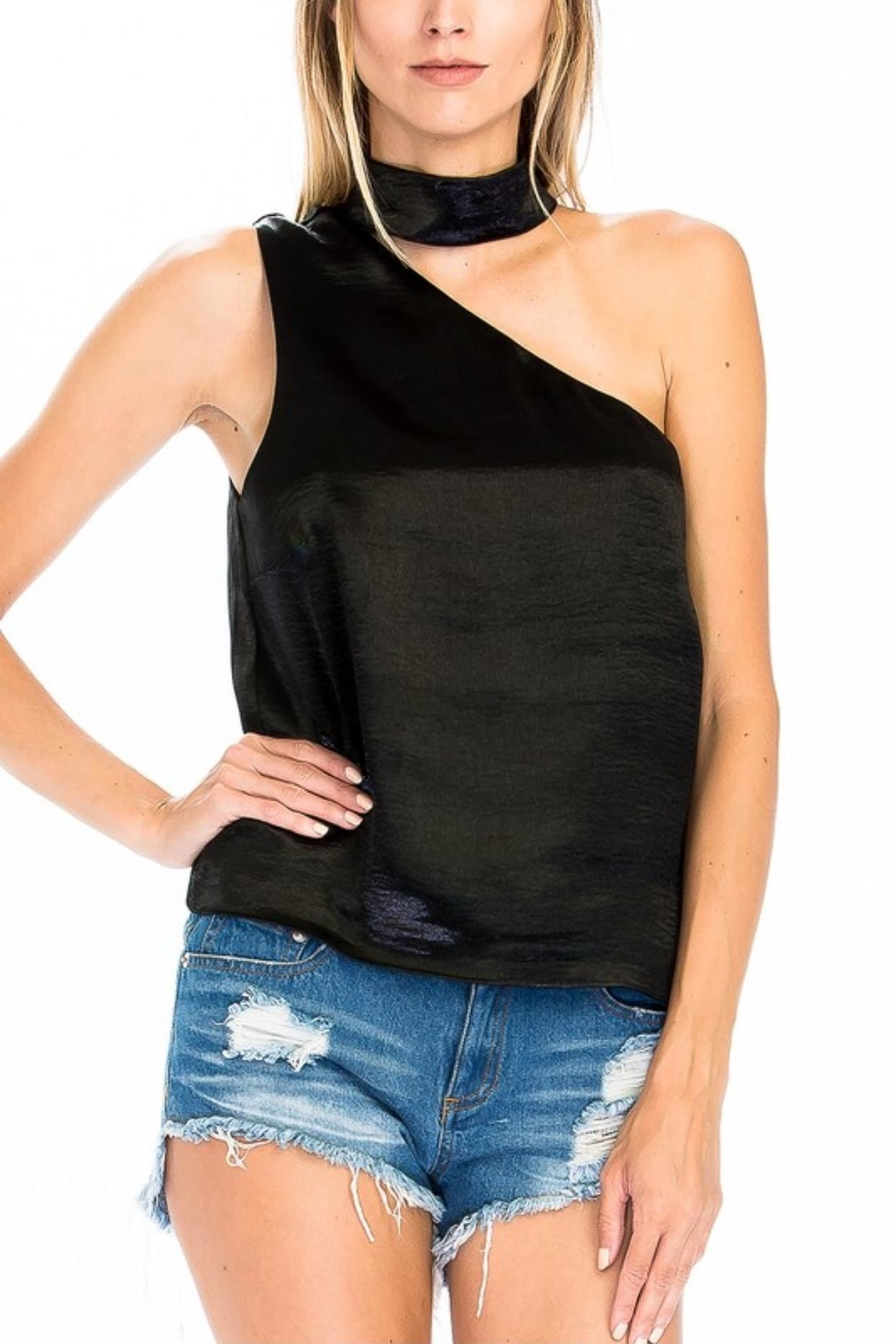 Olivaceous Satin Choker Top - Front Cropped Image
