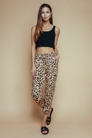 Olivaceous Satin Leopard Jogger - Front full body