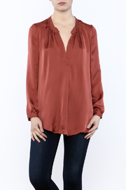 Olivaceous Satin V-Neck Blouse - Product Mini Image