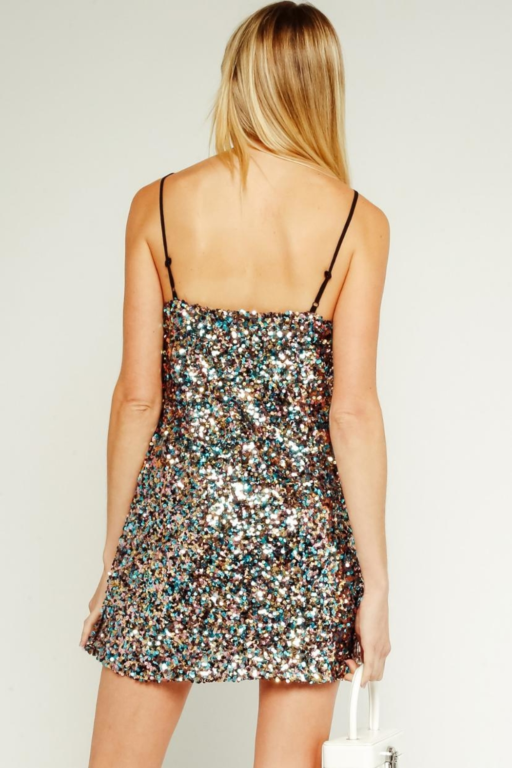 Olivaceous Sequin Mini Dress - Front Full Image