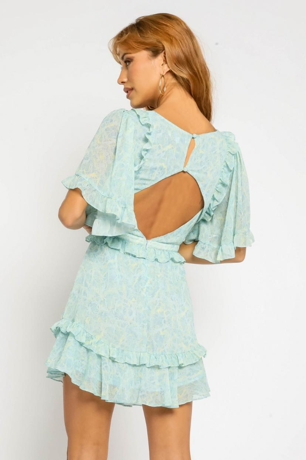 Olivaceous Side Cut-Out Dress - Back Cropped Image
