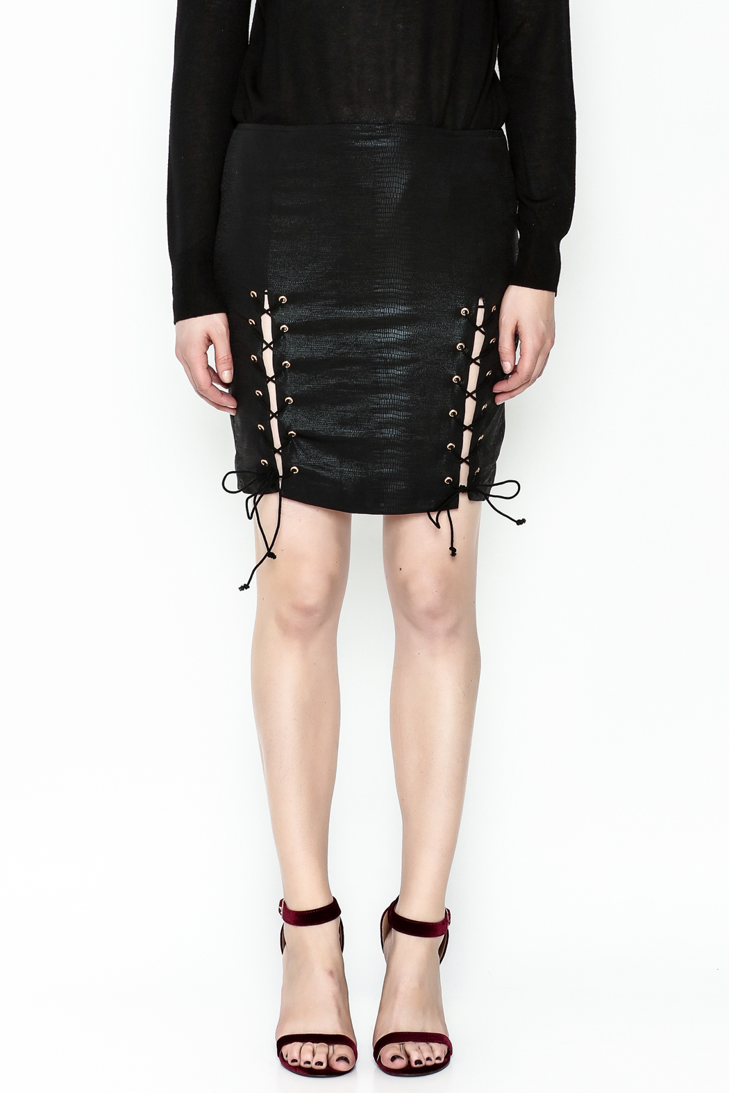Olivaceous Side Tie Skirt - Front Full Image