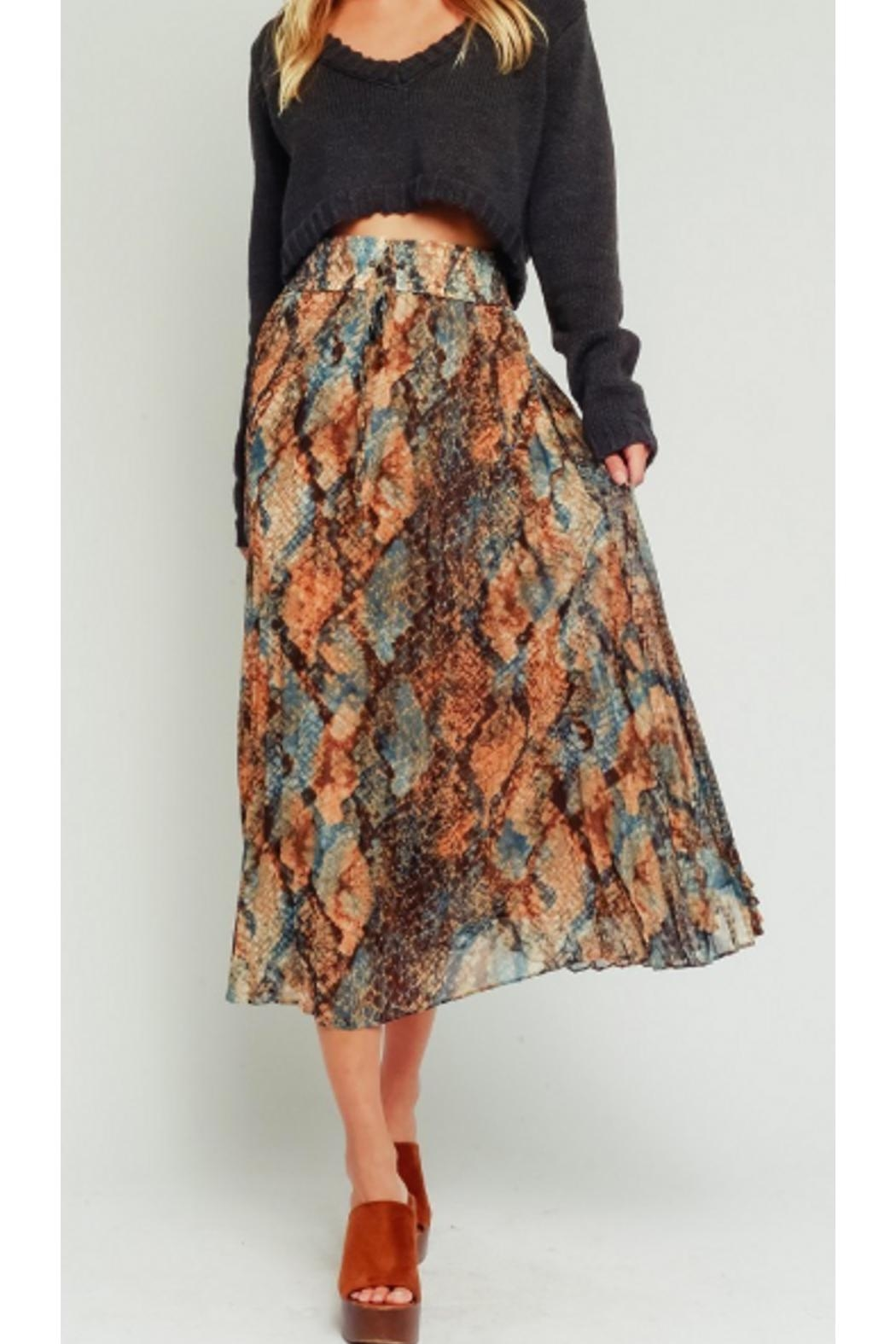 Olivaceous Snake Pleated Skirt - Main Image