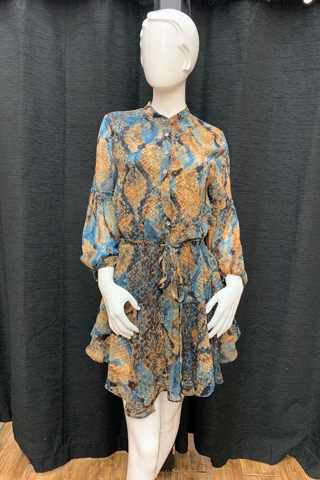 Olivaceous Snake Print Dress - Main Image
