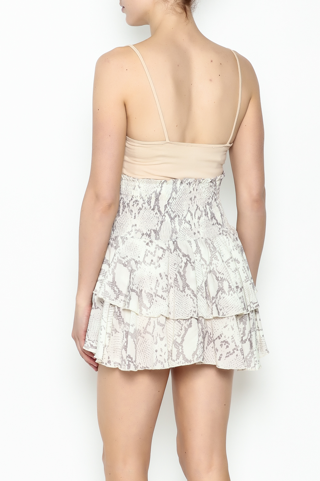 Olivaceous Snake Print Mini Skirt - Back Cropped Image