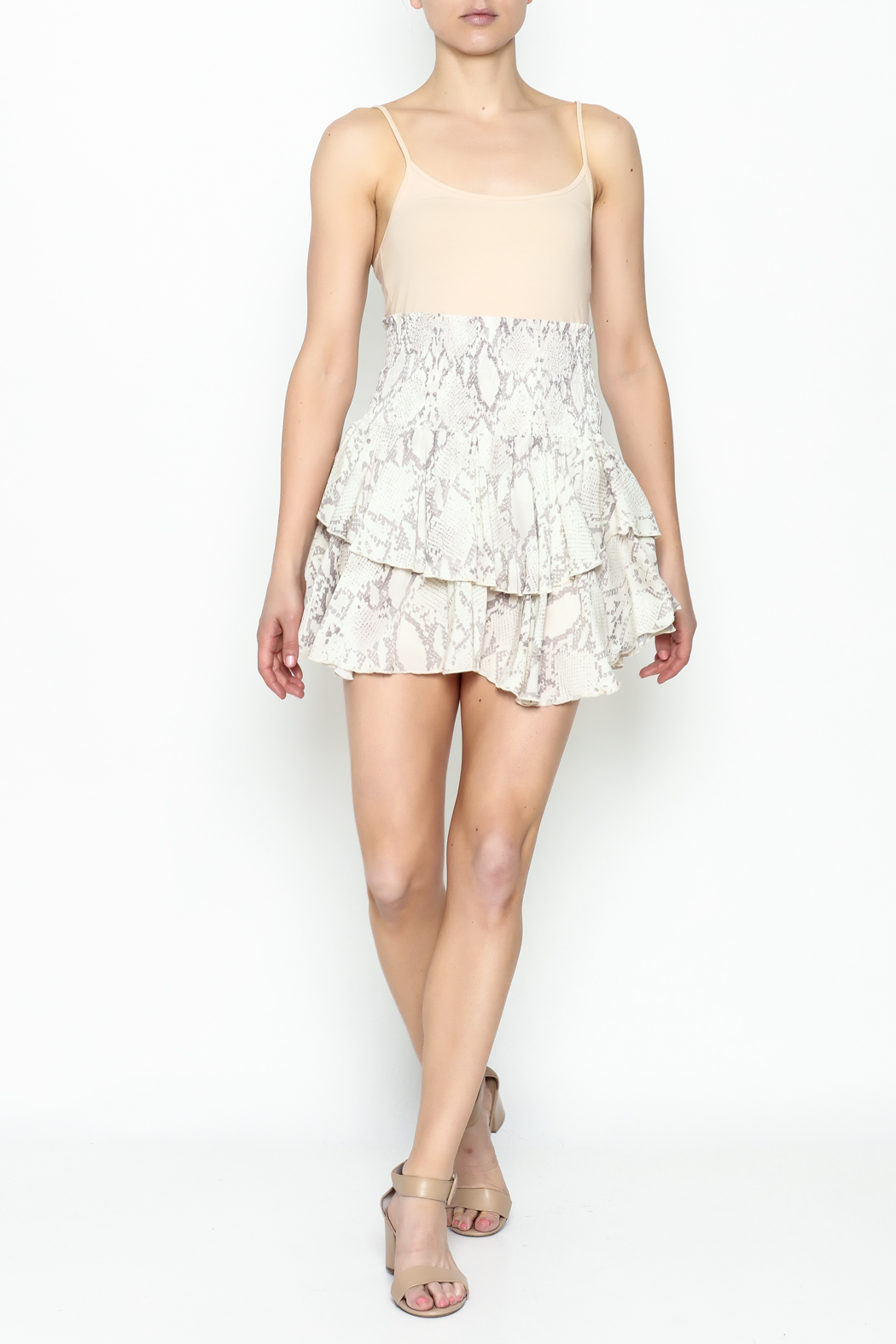 Olivaceous Snake Print Mini Skirt - Side Cropped Image
