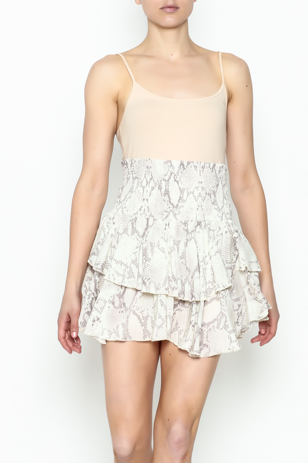 Olivaceous Snake Print Mini Skirt - Main Image