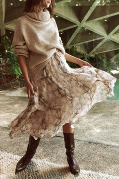 Olivaceous Snake Print Ruffle Skirt - Product List Image