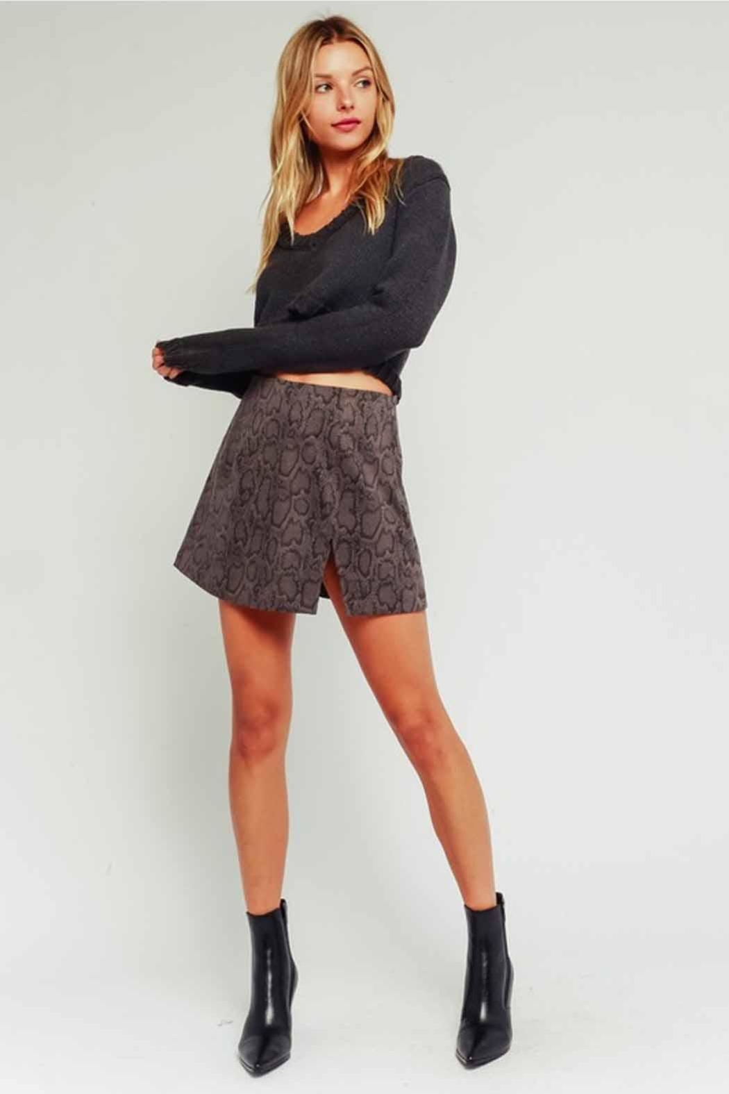 Olivaceous Snake Print Skirt - Main Image