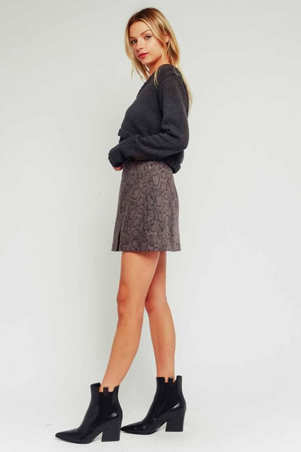 Olivaceous Snake Print Skirt - Side Cropped Image