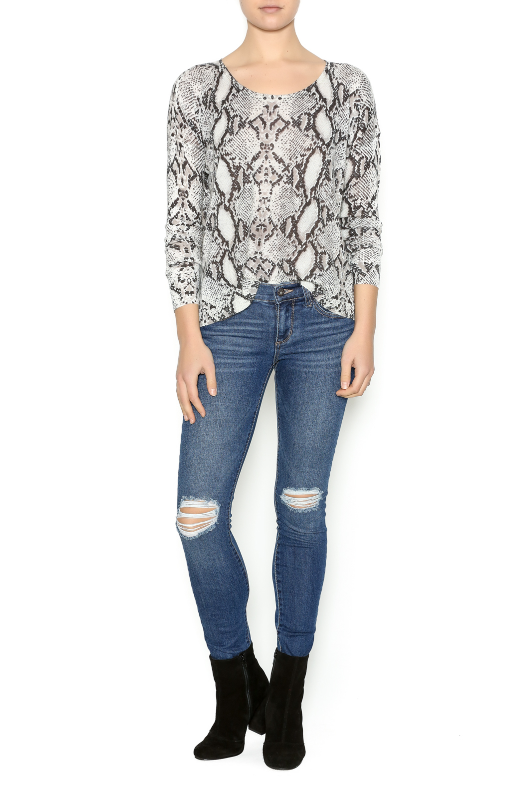 Olivaceous Snake Print Sweater - Front Full Image