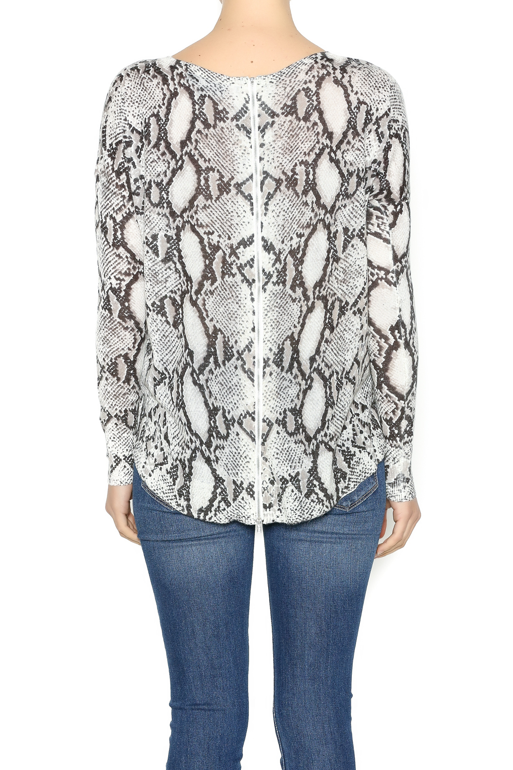 Olivaceous Snake Print Sweater - Back Cropped Image