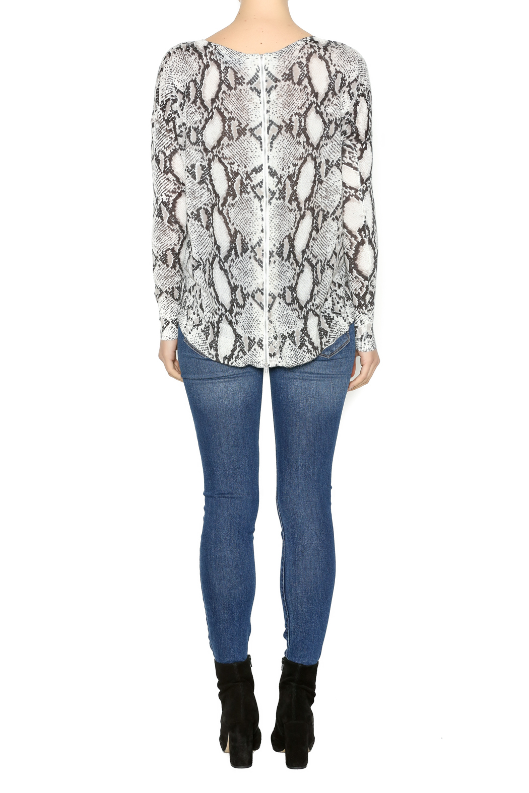 Olivaceous Snake Print Sweater - Side Cropped Image