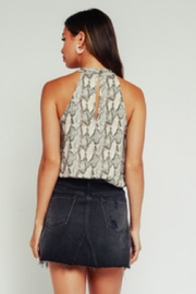 Olivaceous Snake Print Top - Front full body