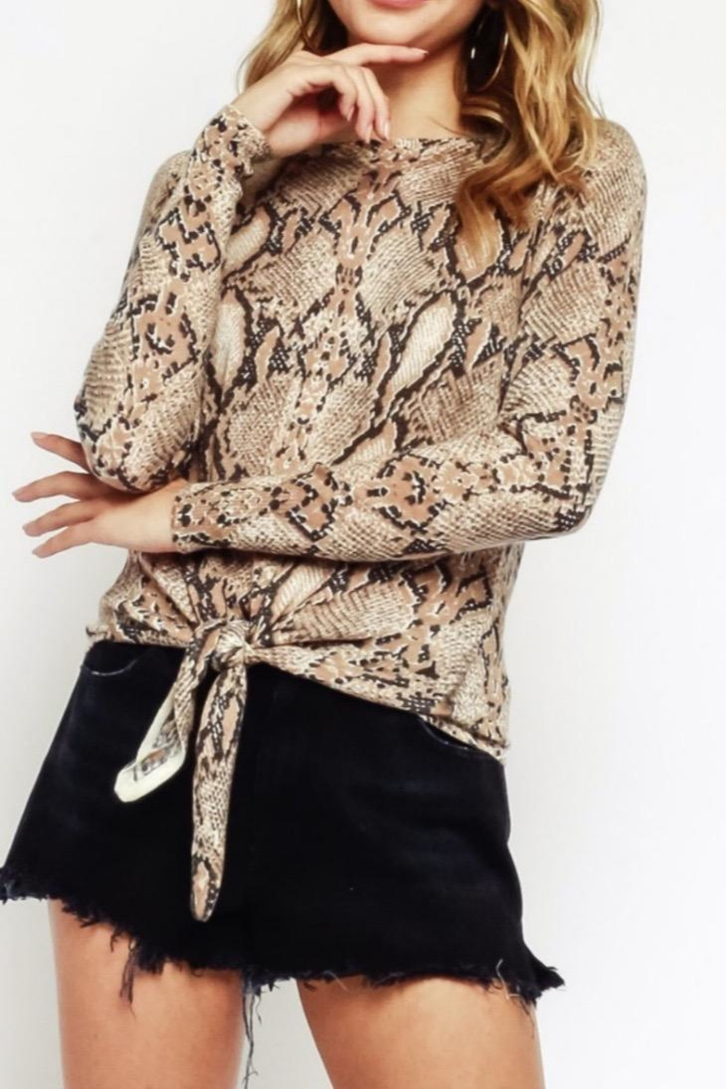 Olivaceous Snake Tie Sweater - Main Image