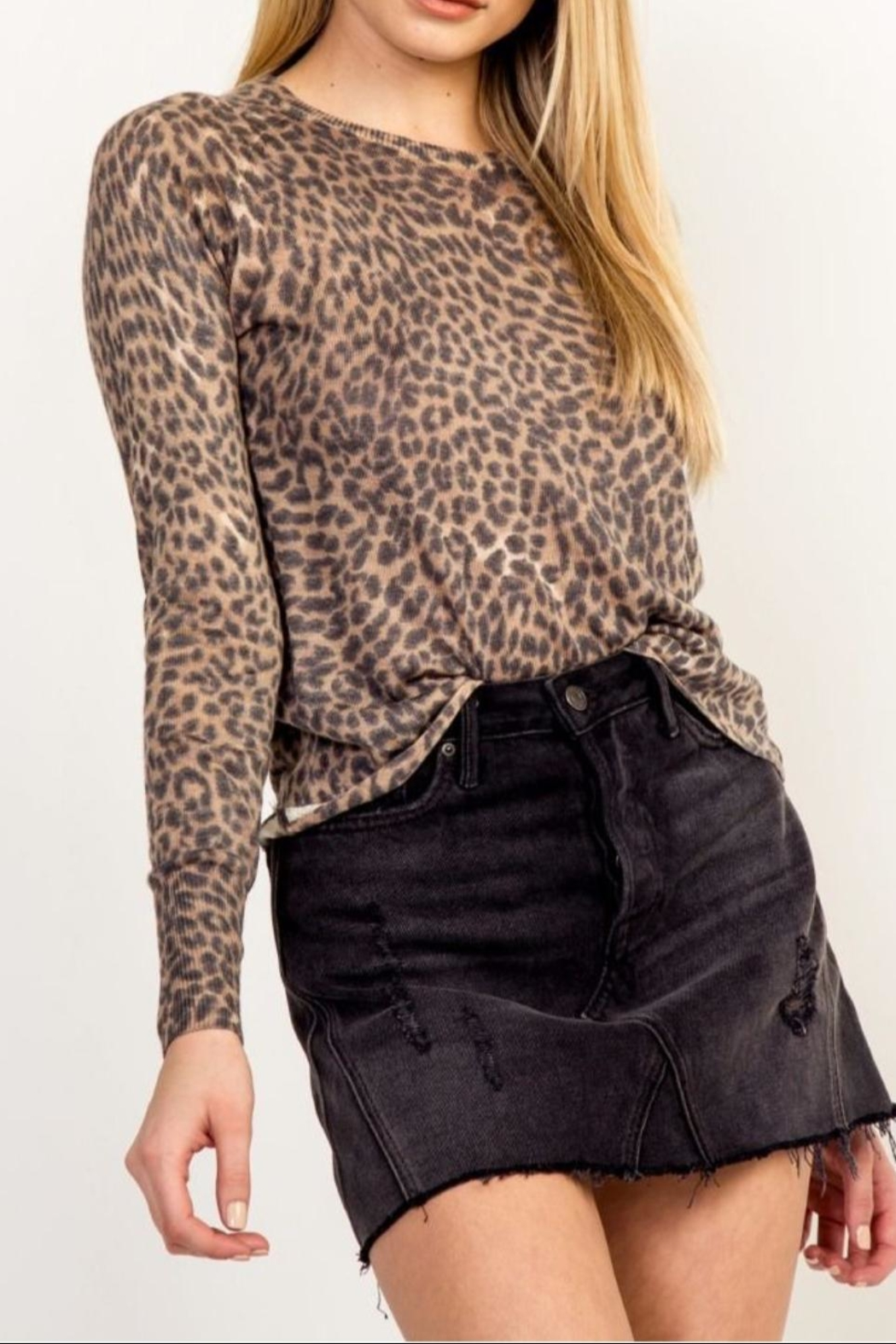 Olivaceous Soft Leopard Sweater - Main Image
