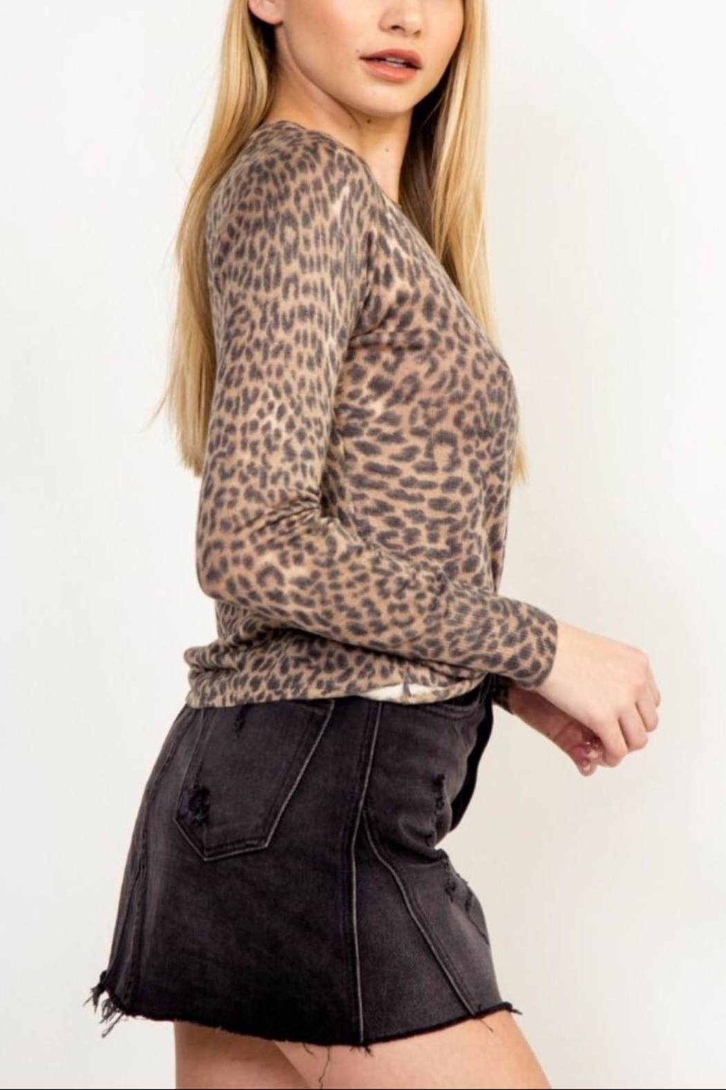 Olivaceous Soft Leopard Sweater - Front Full Image