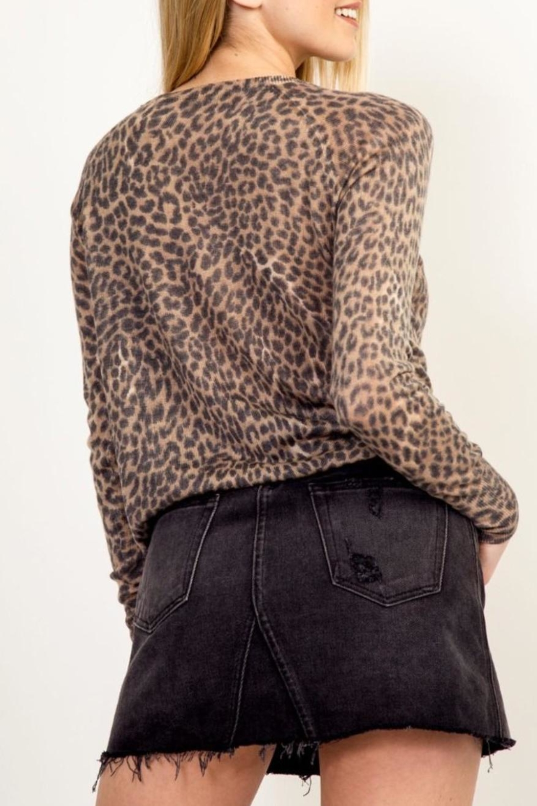 Olivaceous Soft Leopard Sweater - Side Cropped Image