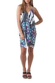Olivaceous Stainglass Print Dress - Front cropped