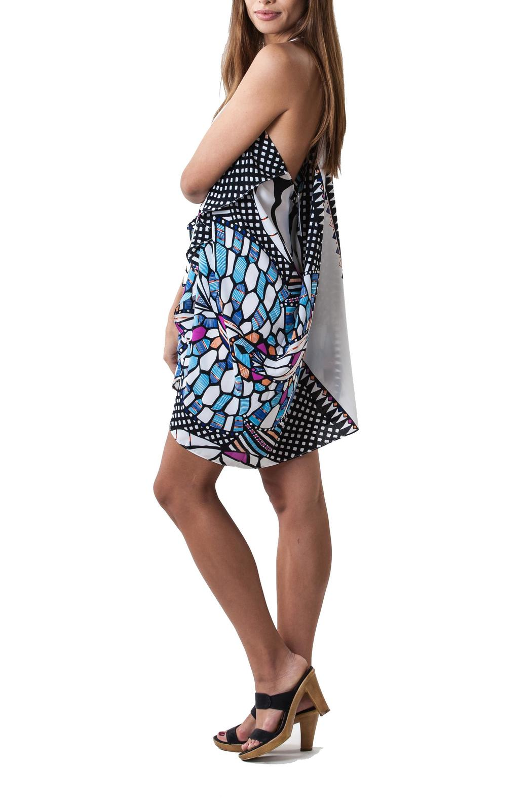 Olivaceous Stainglass Print Dress - Side Cropped Image