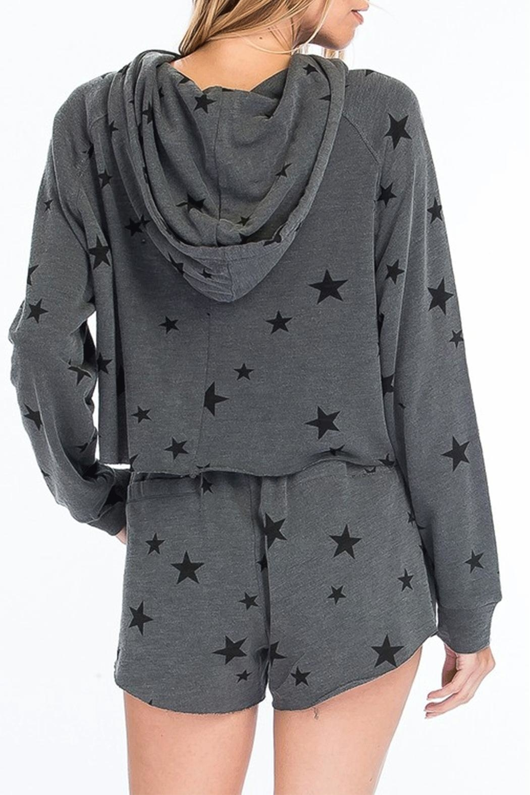 Olivaceous Star Print Hoodie - Front Full Image