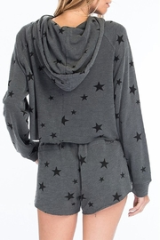 Olivaceous Star Print Hoodie - Front full body