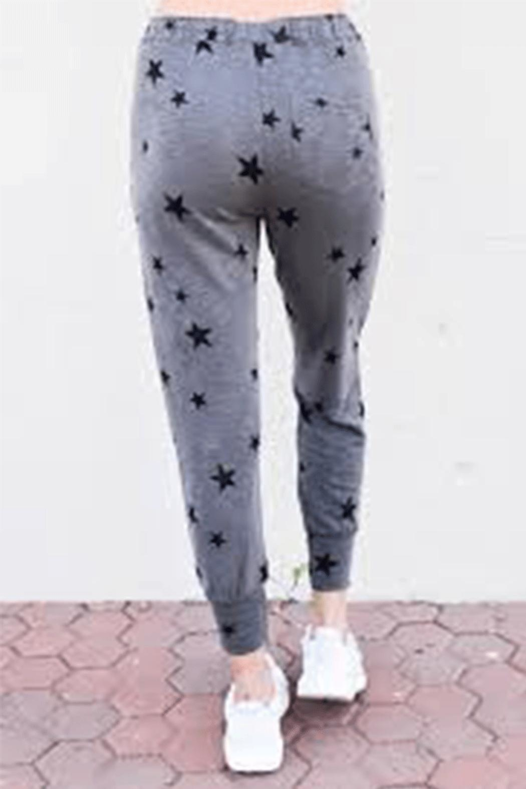 Olivaceous Star Print Joggers - Front Full Image
