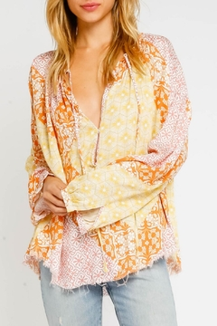 Olivaceous Starburst Peasant Blouse - Product List Image