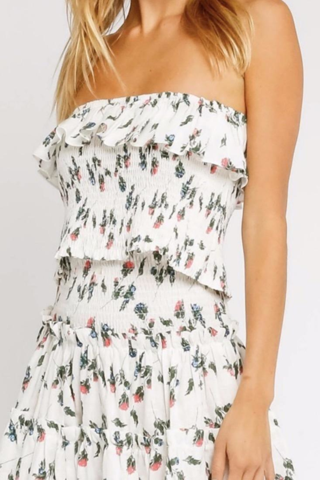 Olivaceous Strapless Floral Crop Top - Main Image