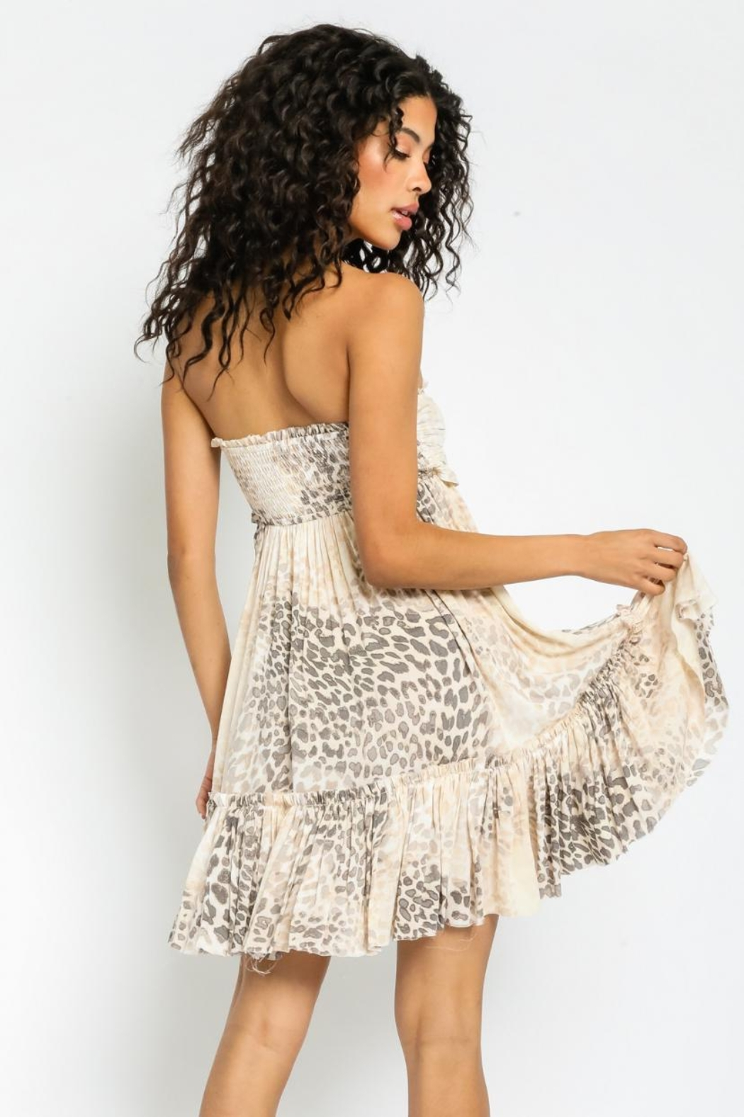 Olivaceous Strapless Leopard Dress - Side Cropped Image