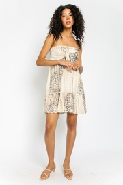 Olivaceous Strapless Leopard Dress - Front full body