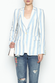 Olivaceous Stripe Linen Blazer - Front full body