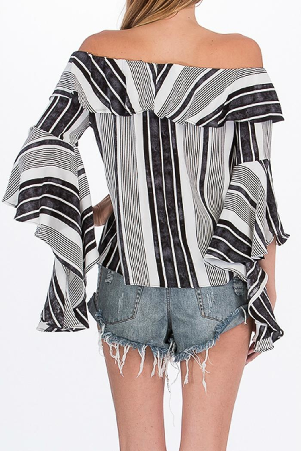 Olivaceous Striped Offshoulder Blouse - Side Cropped Image