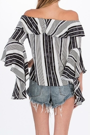 Olivaceous Striped Offshoulder Blouse - Side cropped