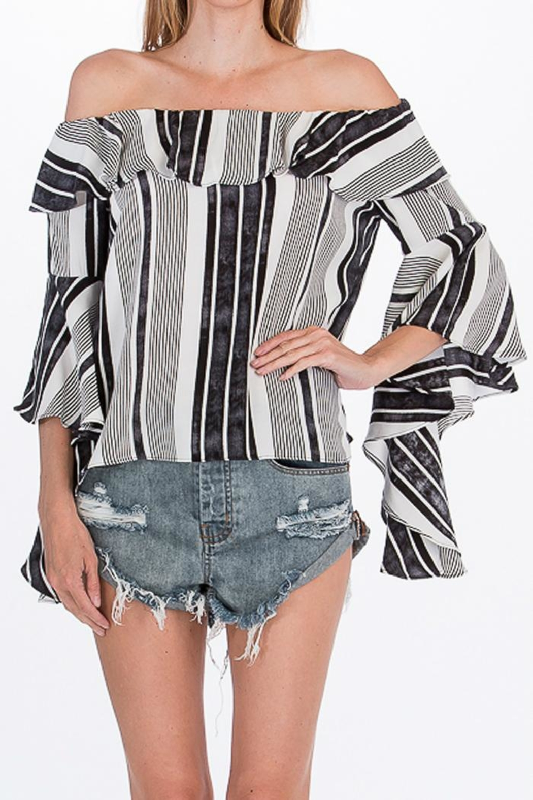 Olivaceous Striped Offshoulder Blouse - Main Image