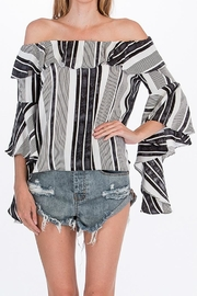 Olivaceous Striped Offshoulder Blouse - Product Mini Image