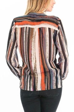 Olivaceous Striped Plunge Blouse - Alternate List Image
