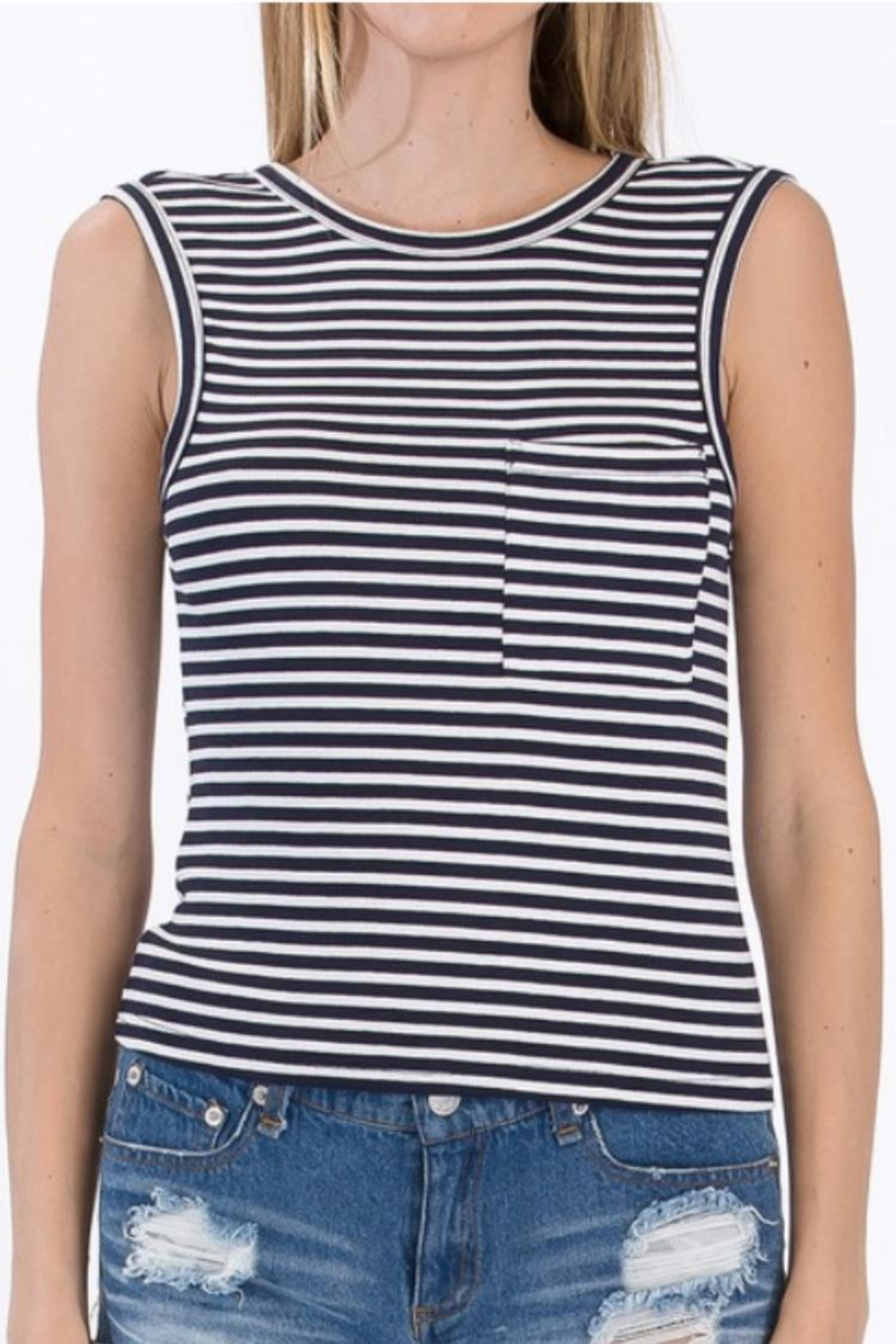 Olivaceous Striped Tank Top - Main Image