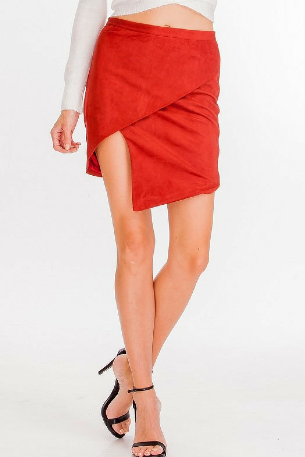 Olivaceous Suede Asymmetrical Skirt - Main Image