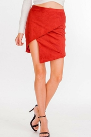 Olivaceous Suede Asymmetrical Skirt - Product Mini Image