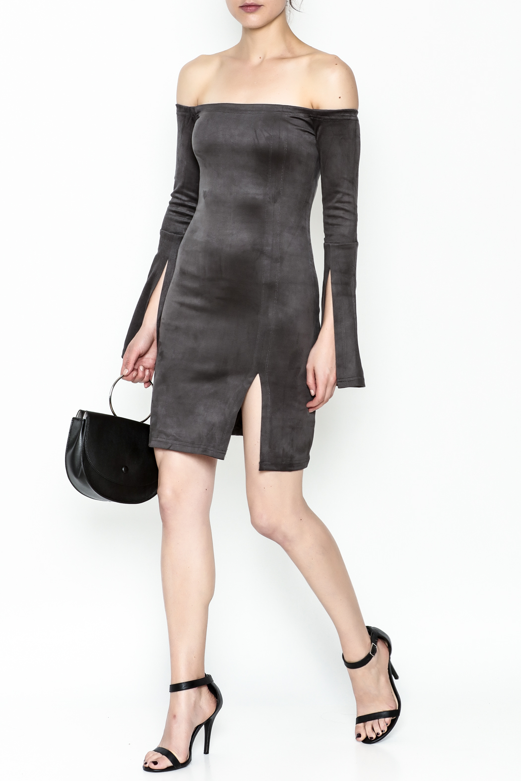 Olivaceous Suede Dress - Side Cropped Image