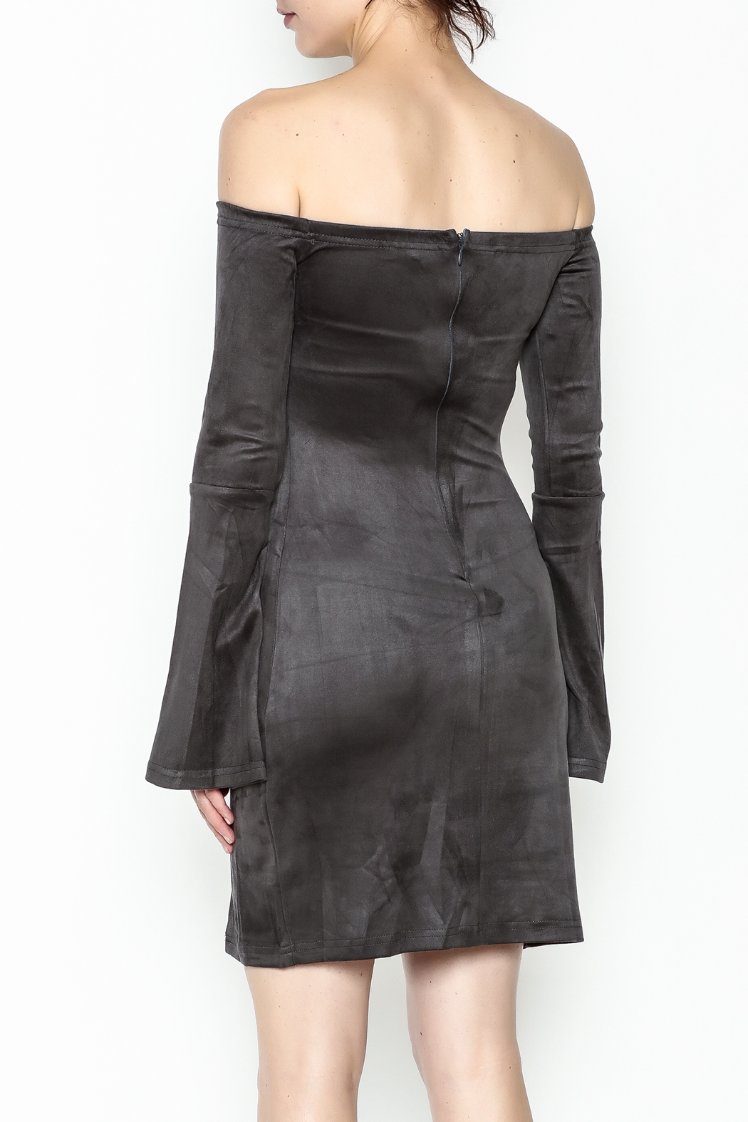 Olivaceous Suede Dress - Back Cropped Image