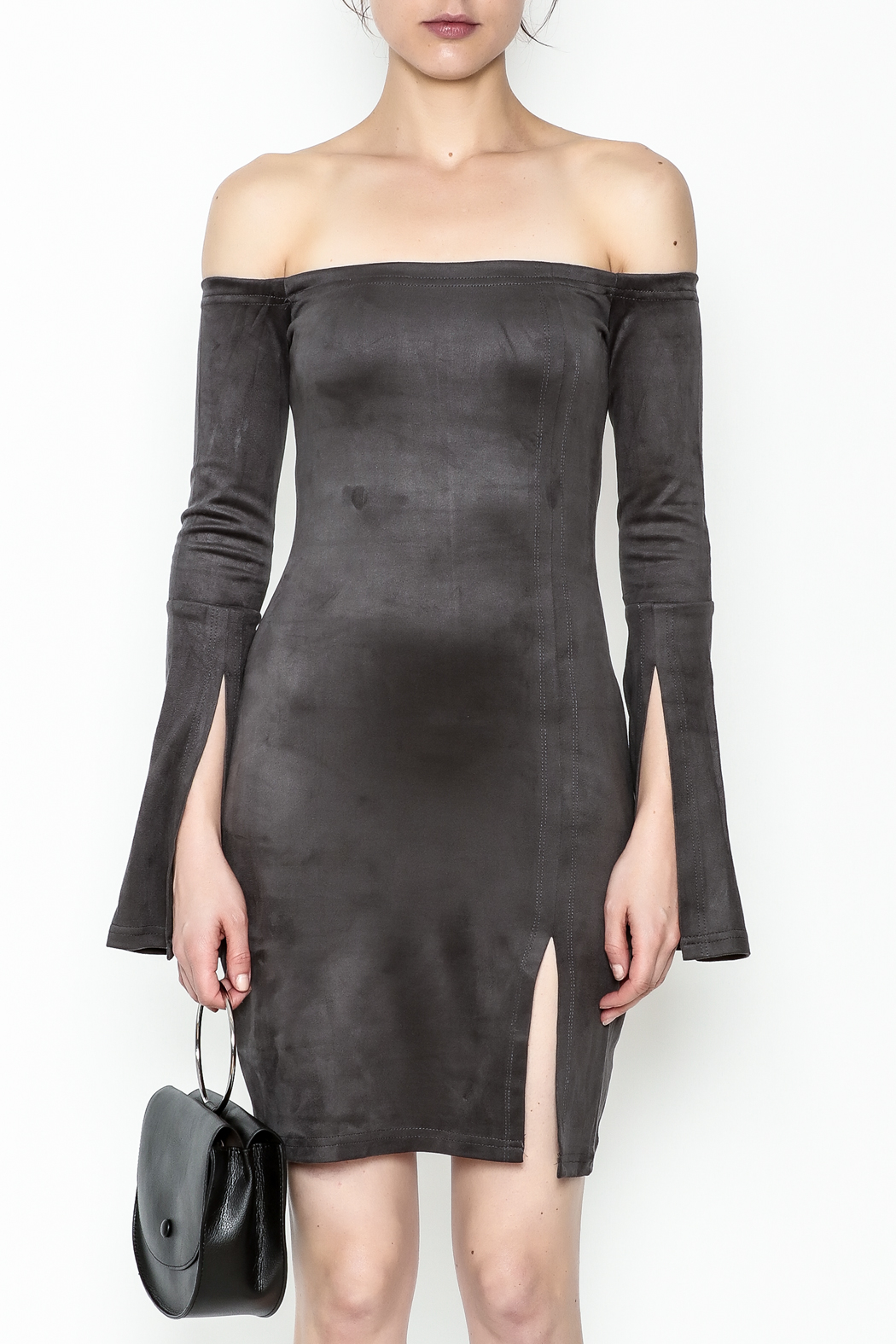 Olivaceous Suede Dress - Front Full Image