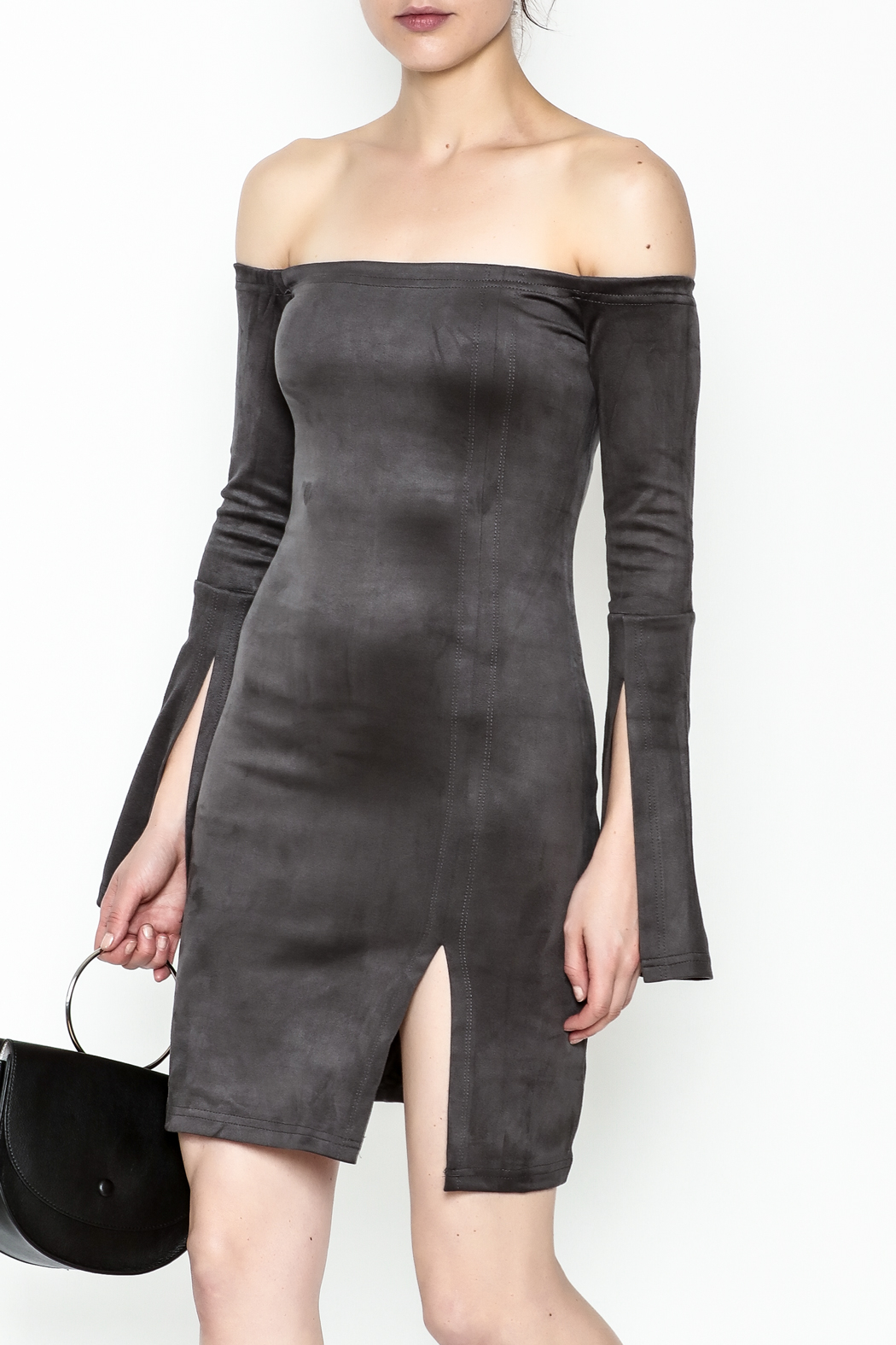 Olivaceous Suede Dress - Main Image