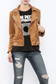 Olivaceous Faux Suede Studded Jacket - Product Mini Image