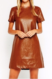 Olivaceous Tan Vegan Minidress - Front cropped