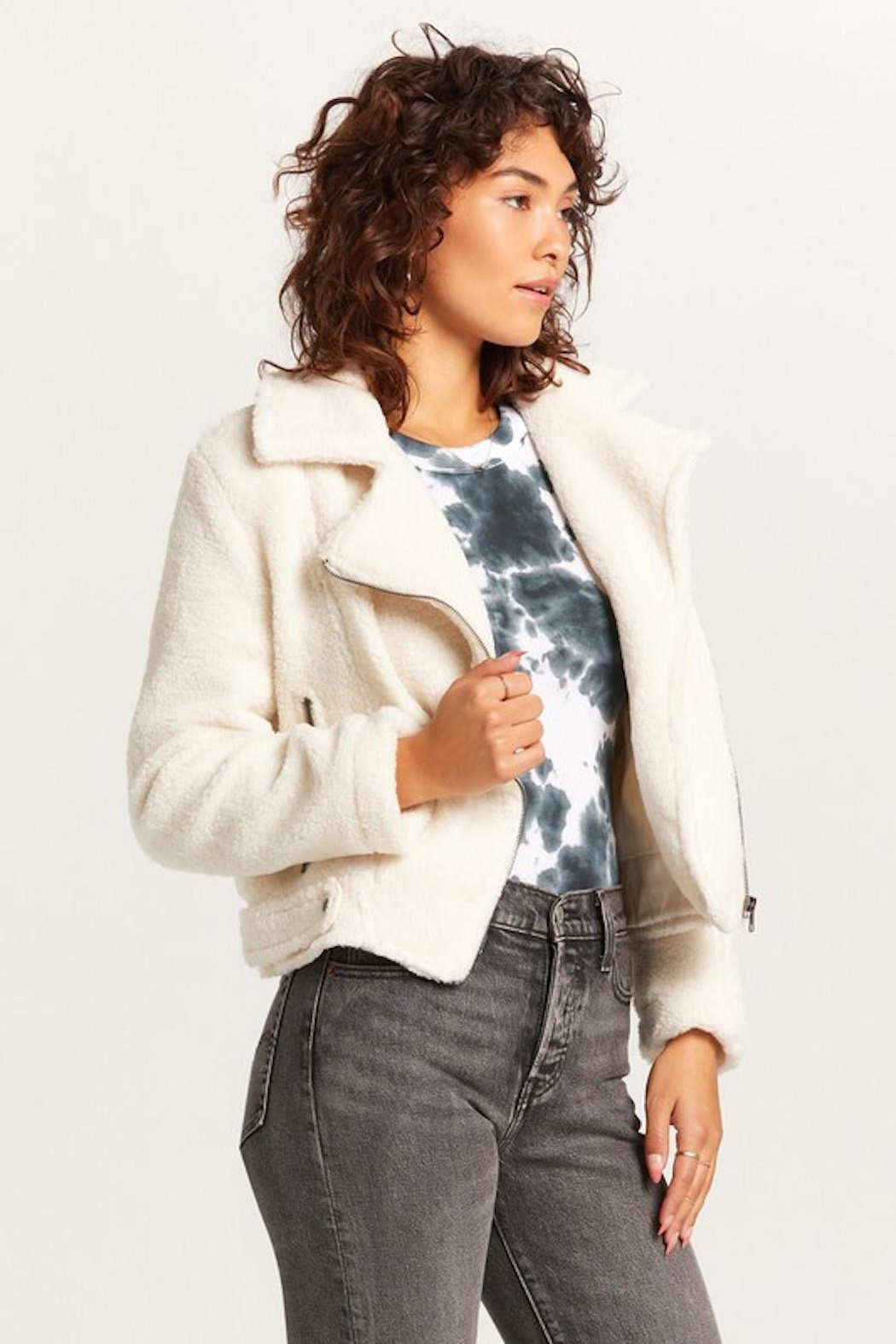 Olivaceous Teddy Moto Jacket - Side Cropped Image