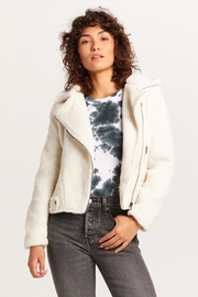 Olivaceous Teddy Moto Jacket - Front cropped